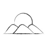 Mountain with sun drawing Royalty Free Stock Photo