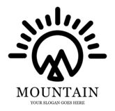 Mountain and Sun Logo royalty free illustration