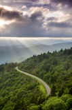 Mountain Sun Rays Landscape. Afternoon sun rays beam over the blue Ridge Parkway western North Carolina Stock Photos
