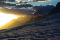 Mountain sun set. Sun set in the mountains around hispar pass in karakoram range Royalty Free Stock Photos
