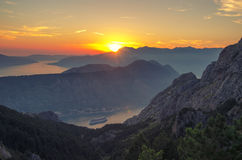 Mountain Sundown in the Kotor Bay Boka Kotorska, Montenegro Royalty Free Stock Photos