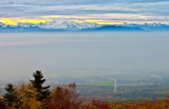 Mountain Sunrise. View of Chablais Alps and valley at sunrise during autumn Stock Image
