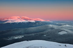 Mountain at sunrise. Stara planina mountain at sunrise in bulgaria Stock Photo