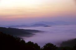 Mountain sunrise. Fog at sunrise over the Blue Mountains Stock Photo