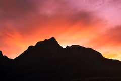 Mountain With Sunrise Background Royalty Free Stock Images