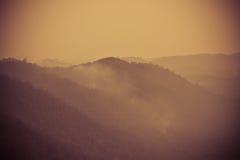 Mountain Sunrise color vintage. Sunrise view on hilltop mountain Southeast Asia Stock Photo