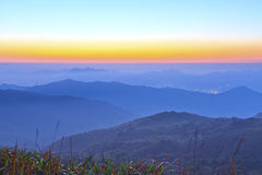 Mountain sunrise at dawn Stock Image