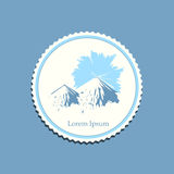 Mountain sunrise drawing label travel badge Royalty Free Stock Images