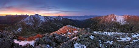 Mountain sunrise landscape panorama, Slovakia Royalty Free Stock Images