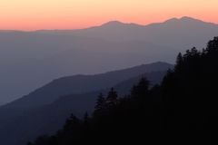 Mountain Sunrise Layers. Mountain layers painted in the light of sunrise - Smoky Mountains Nat. Park, USA royalty free stock image