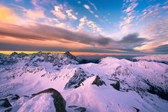 Mountain sunrise panorama from peak - Poland Tatras Stock Photo