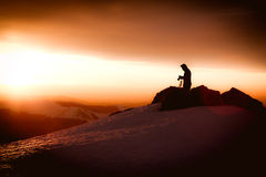 Mountain sunrise photographer silhouette Royalty Free Stock Photo