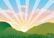 Mountain Sunrise. Vector illustration of the sun rising through the mountains Stock Photos
