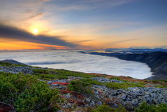 Mountain sunset. The image created of the five shots taken in the exposure bracketing on technology HDRi, is a complete High Dynamic Range Image Stock Photography