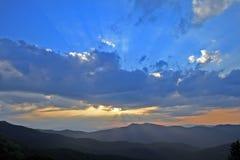 Mountain Sunset. Sun setting behind Blue Ridge Mountains Royalty Free Stock Image