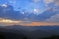 Mountain Sunset. Sun setting behind Blue Ridge Mountains Royalty Free Stock Photos