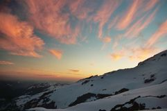 Mountain Sunset. Sunset from 8,000 ft on Mount Rainier Stock Image