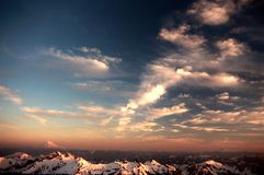 Mountain Sunset. Sunset from 8,000 ft on Mount Rainier looking over the Cascade Range towards Mount Adams Royalty Free Stock Image