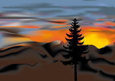 Mountain sunset. This image is a vector illustration and can be scaled to any size without loss of resolution. This image will download as an EPS file. You will Stock Image