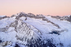 Mountain sunset. In Aneto Peak, 3404 m., Posets Maladeta Natural Park, Pyrenees, Spain Stock Image
