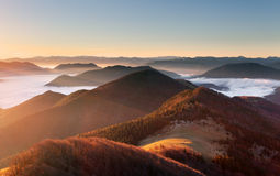 Mountain sunset autumn landscape in Slovakia Stock Image