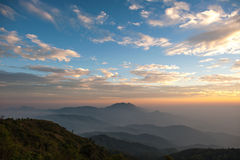 Mountain and Sunset at Doi Inthanon, Chiang Mai, Thailand Stock Images