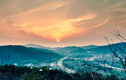 Mountain sunset. In the evening when the sun appears beautiful sunset Stock Photo