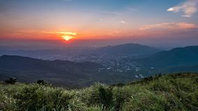 Mountain Sunset at Hong Kong stock video footage