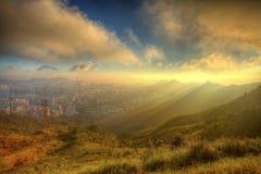 Mountain sunset in Kowloon, Hong Kong. Stock Photo