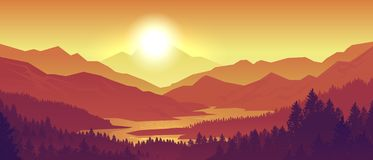 Mountain sunset landscape. Realistic pine forest and mountain silhouettes, evening wood panorama. Vector wild nature