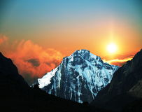 Mountain on sunset Stock Photography
