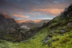 Mountain sunset near Landmannalaugar Stock Photography