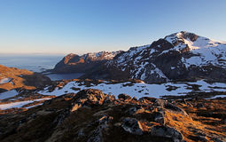 Mountain sunset panorama at autumn in Norway Royalty Free Stock Image