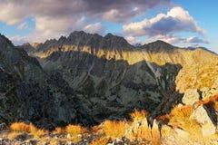 Mountain sunset panorama at autumn in Slovakia - High Tatras Stock Photo