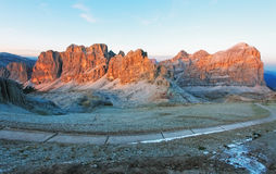 Mountain sunset panorama landscape - in Italy Alps - Dolomites Royalty Free Stock Photos
