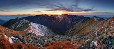 Mountain sunset panorama in West Tatras Royalty Free Stock Image
