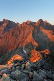 Mountain sunset  from peak - Slovakia Tatras Royalty Free Stock Photos
