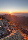 Mountain sunset  from peak - Slovakia Tatras Stock Photography