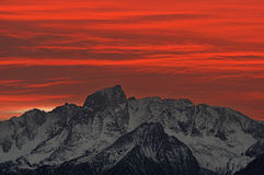 Mountain Sunset. Red and orange sunset over Mount Humphreys in the eastern Sierra of California Royalty Free Stock Image