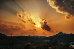 Mountain sunset Stock Image