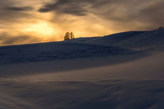 Mountain sunset snow sun winter Stock Photos