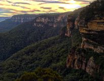Mountain sunset. Top of wentworth falls sunset in the Blue Mountains Stock Photo