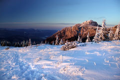 Mountain sunset in winter Royalty Free Stock Photos