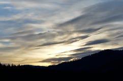 Mountain sunset  on winter royalty free stock photos