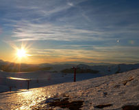Mountain sunset in winter time II Royalty Free Stock Image