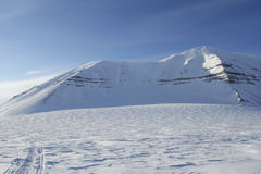 The mountain on Svalbard Stock Photo