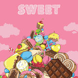 Mountain of sweets in the sky Royalty Free Stock Photo