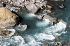 Mountain swift river, natural background. Nepal, Himalayas royalty free stock image