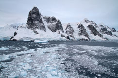 Mountain system of the Antarctic Peninsula at the entrance to th Stock Photos