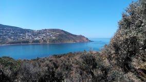 Tourisme tunisie - Tabarka. Beautiful tabatka village behind ocean Royalty Free Stock Images